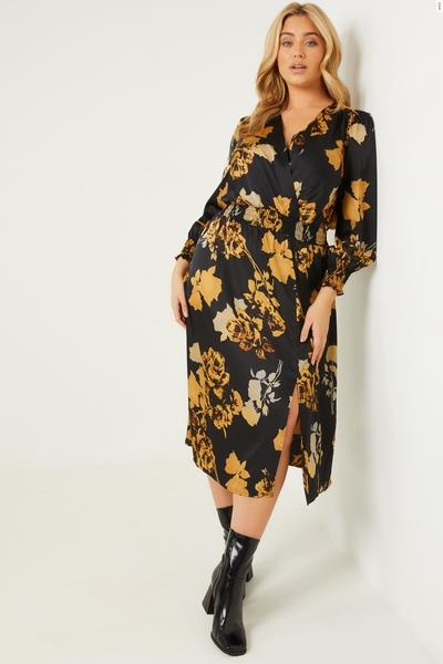 Curve Black Floral Satin Midi Dress